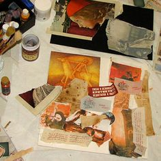 Lara Berch.  Mixed media collage tutorial & how to make antique looking papers with coffee.