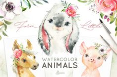 farm animals for kids project! Little Watercolor Animals by OctopusArtis on Woodland Animals, Farm Animals, Cute Animals, Watercolor Animals, Watercolor Flowers, Watercolor Paintings, African Animals, Photoshop Design, Nursery Art