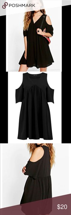 Women's black lostrice cold shoulder smock dress New with tags. Uk16/us12. About the dress 100% poly Boohoo Dresses Mini