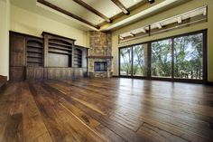 Great Room with Corner Fireplace  Serrano Custom