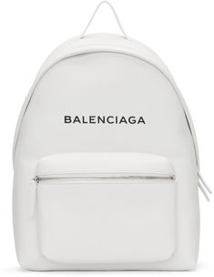 Balenciaga - White Logo Everyday Backpack. Carry handle at top. Adjustable padded shoulder straps # #product #white