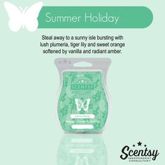 Summer Holiday - Scentsy New Release Spring 2016 - plumeria tiger lily orange vanilla amber www.jacquischlotterbeck.scentsy.us