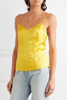Topshop Unique - Floral Fatale Silk-jacquard Camisole - Yellow - UK14
