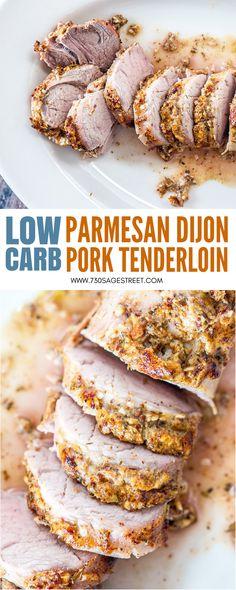 Low Carb Parmesan Dijon Pork Tenderloin #lowcarb #lowcarbdiet #lowcarbrecipes #keto #ketodiet #dinner #dinnerrecipes #easy #pork #porktenderloin #glutenfree #glutenfreerecipes #easydinner #recipe #lchf #parmesan #mustard