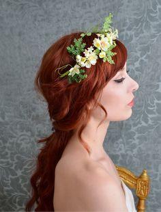 https://flic.kr/p/fU93w7 | Bridal hair crown, woodland fern headband, ivory floral headpiece, wedding accessories