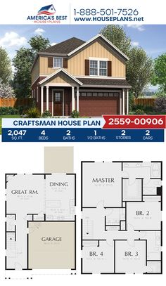 A stunning Craftsman home design, Plan 2559-00906 features 2,047 sq. ft., 4 bedrooms, 2.5 bathrooms, a kitchen island, an open floor plan, and a 2 car garage. #craftsman #twostoryhome #architecture #houseplans #housedesign #homedesign #homedesigns #architecturalplans #newconstruction #floorplans #dreamhome #dreamhouseplans #abhouseplans #besthouseplans #newhome #newhouse #homesweethome #buildingahome #buildahome #residentialplans #residentialhome Craftsman Style Homes, Craftsman House Plans, Best House Plans, Dream House Plans, Two Story Homes, Architectural Elements, Open Floor, Car Garage, Future House