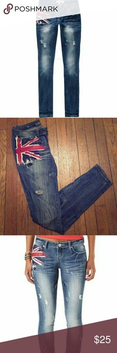 Almost Famous British flag jeans BN Brand new never worn  Almost Famous dark blue jeans with red white and blue British flag design on the side   Size 2  Slight destruction  No tags Almost Famous Jeans Skinny