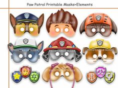 Unique PAW Patrol Printable Masks,party masks,birthday,decoration,invitation,Ryder,Chase,Skye,Rocky,Zuma,Rubble,costume,photo props,Disney on Etsy, $5.87