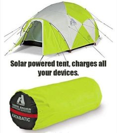 Solar-powered tent.