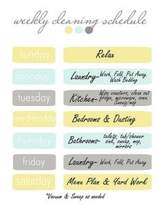 weekly cleaning schedule, I really like this schedule for cleaning