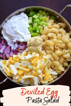 Deviled Egg Macaroni Salad - - Deviled egg pasta salad with macaroni noodles. Light on the mayo and big on flavor, this dish is a hit at cookouts or summer gatherings! Great way to use leftover hard boiled eggs. Macaroni Pasta Salad, Pasta Salad Recipes, Recipe Pasta, Southern Macaroni Salad, Classic Macaroni Salad, Side Salad Recipes, Couscous Recipes, Vegetarian Recipes, Cooking Recipes