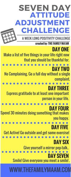 Seven Day Attitude Adjustment Challenge: Seven days to a positive mind. lol this is just 7 days. Motivation, Mental Training, Positive Thoughts, Positive Outlook, Quotes Positive, Positive Attitude, Attitude Quotes, Positive Vibes, Good Advice