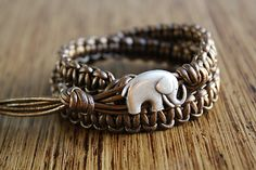 Elephant Bracelet Elephant Jewelry Metallic by theredparachute