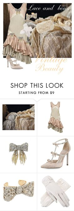 """""""Lace and bows"""" by joyfulmum ❤ liked on Polyvore featuring Urban Decay, Alexander McQueen, Alexis Bittar and René Caovilla"""
