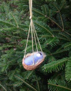 Wool Felt Swaddled Baby in Walnut Shell Cradle / by newtknees, $18.00