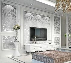 silver damask wallpaper