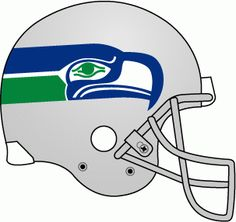 Seattle Seahawks Helmet Logo (1976) - Silver helmet with blue, green and white logo, grey facemask