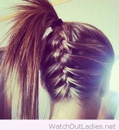 Back french braid and high pony tail