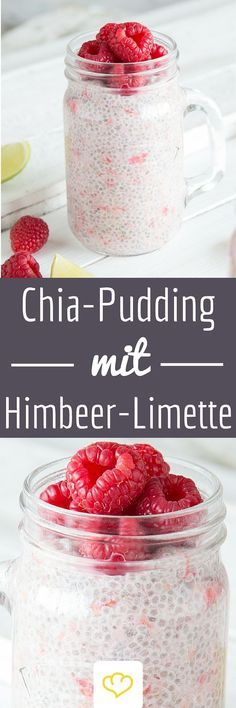 Fruchtiger Chia-Pudding mit Himbeeren und Limette What is healthy, tastes fruity and fresh and makes you feel full for a long time? I agree! Chia pudding with a hint of lime and fresh raspberries. Chia Pudding, Pudding Desserts, Pudding Recipes, Smoothie Bowl, Best Smoothie, Food To Go, Food And Drink, Breakfast Smoothies, Breakfast Recipes