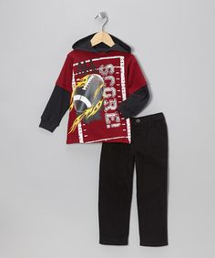 Take a look at this Red Field Layered Hoodie & Pants - Infant & Toddler by Little Rebels on #zulily today!