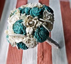 Custom Wedding Bouquet- Ivory Turquoise Bridal Bridesmaid Bouquet, Alternative Bouquet, Keepsake Bouquet, Rustic Wedding