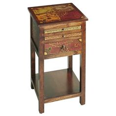 Inspired by the intricate motifs of Central Asian tribal textiles, the ingenious Suzani brings a lot more to the table than just hand-painted good looks. Up top, disguised as slender drawers: Two slide-out game boards for backgammon and chess. A third, larger drawer holds playing pieces. And down below, a handy shelf sits ready to accommodate your winnings. Game on.
