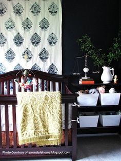 DIY Painted Fabric Curtains and Wall Art - Royal Design Studio Indian Paisley Wall Stencils for Chic Nursery Decor