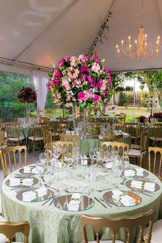 Toalhas de mesa verdes para casamento ao ar livre