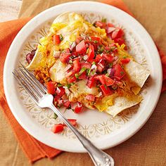 Pumpkin, Bean, and Chicken Enchiladas | More healthy Mexican recipes: http://www.bhg.com/recipes/ethnic-food/mexican/heart-healthy-mexican-recipes/#page=6 #myplate