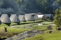 Early morning in the camp during the Under the Crown event in June. Living History Park in North Augusta, SC.