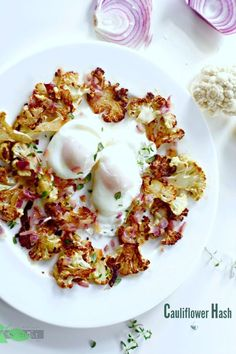 Cauliflower Hash with Poached Egg Recipe. Perfect for breakfast or dinner! Healthy, easy, delicious.