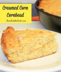 Creamed Corn Cornbread Recipe - The creamed corn plus the buttermilk makes for an extremely moist, tasty and wonderful cornbread! This Creamed Corn Cornbread Recipe doesn't dry out, and holds up for days.   http://www.annsentitledlife.com/recipes/creamed-corn-cornbread-recipe/