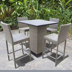Enjoy modern outdoor dining with the TK Classics Oasis 5 Piece Outdoor Wicker Pub Table Set . The square tabletop is crafted from cast aluminum and powder. Patio Bar Set, Pub Table Sets, Outdoor Pub Table, Outdoor Decor, 3 Piece Dining Set, Dinning Set, Breakfast Nook Dining Set, Wood Table Bases, Pub Set