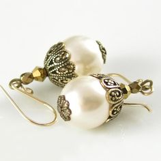 Cream Pearl Earrings Antique Gold Brass Earrings by DorotaJewelry, $25.50