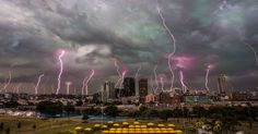 A photographer from New Zealand captured a stunning photograph of a skyline filled with lightning strikes in Sydney on Wednesday evening.