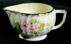Limoges American China Rose Creamer, Fine China Dinnerware   Pink & Blue Flowers