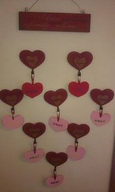 """Bought these hearts on clearance for $.20 each after Valentine's Day and wrote all our names on them (& guest on bottom). The plaque says """"A house is just a house, a family makes it a home"""". When we/they are home they put the """"home"""" on & when we/they go out we put """"away"""".  The kids love this and it shows when our family is """"complete"""" when we are all together."""