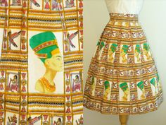 Very cool 1950s Novelty Print Full Skirt Egyptian Skirt. love these skirts and would wear them today