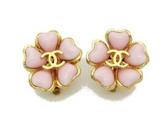 vintage Chanel earrings with gold CC & pink gripoix glass flower     #Chanel #earrings #jewelry