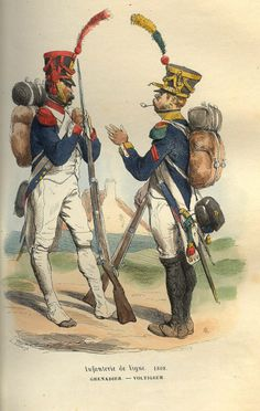 A French grenadier (elite line infantry) and a voltigeur (elite light infantry), 1808.