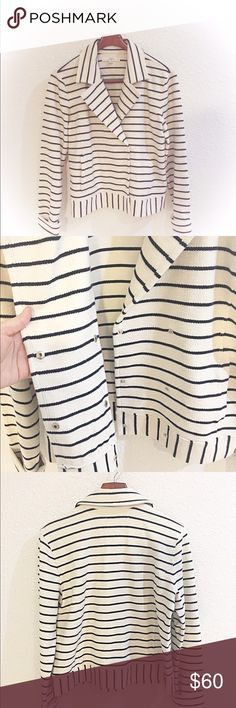 """NWOT LOFT double breasted knit jacket Double breasted striped LOFT knot blazer. So awesome to throw on with jeans and a tee. Side pockets. Black and cream color. Size large, new condition. Armpit to armpit 21"""" length 22 1/2"""". No lowballing no trades. LOFT Jackets & Coats"""