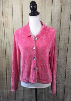 Boston Proper Woman's Size S Soft Cardigan Top or Sweater Hot Pink Button Up  #BostonProper #Cardigan #Everyday
