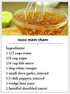 nuoc mam cham Vietnamese Cuisine, Vietnamese Sauce, Sauce Recipes, Cooking Recipes, Nuoc Cham Sauce Recipe, Nuoc Mam Recipe, Lumpia Dipping Sauce Recipe, Dipping Sauces, Asian Recipes