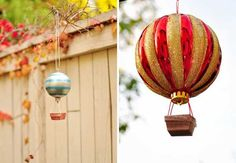 Hot Air Balloon Ornament DIY. //  ♡ HOW AWESOME IS THIS!!! IT'S A PERFECT IMITATION OF A HOT AIR BALLOON! (Especially the red & gold ornament!) NOW I CAN'T WAIT FOR SUMMER!!!  ♥A ***Thanks beautiful!