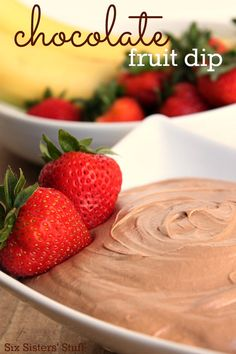 Only 3 ingredients to this delicious Chocolate Fruit Dip! | SixSistersStuff.com