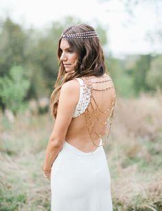 Custom bohemian chain back wedding dress