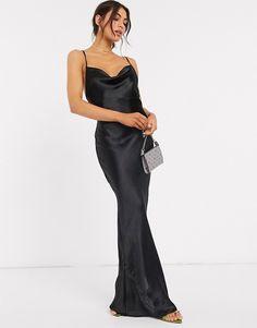 Black Tie Wedding Guests, Black Tie Wedding Guest Dress, Formal Wedding, Summer Wedding, Black Satin Dress, Satin Dresses, Pleated Midi Dress, Maxi Dress With Sleeves, Asos