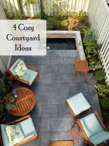 4 Cozy Courtyard Ideas (1)  Upgrade or faux finish concrete. Paint interior fence off-white along with gate black. Check homeowners first. Pond in area for planter nice, but could be liability with tenants with toddlers. Use built-up planter with possible room for tenants own water feature (i.e. their risk) and outdoor mirror behind it all. Also, plants with cascadimg, fountain-like appearance.