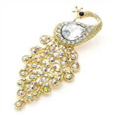 gold crystal peacock ladies womens fashion dress brooch | 14580 | £14.95