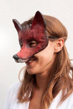Red Fox Mask / Animal Mask / Festival Mask / Fancy by NibAndChisel